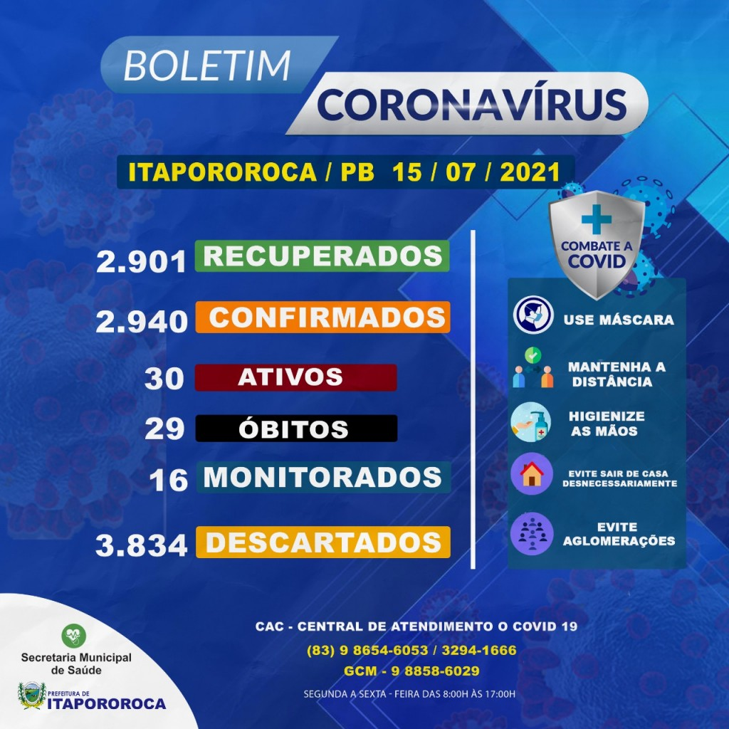 BOLETIM EPIDEMIOLÓGICO ITAPOROROCA-PB (15/07/2021)
